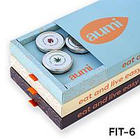 Подарочный набор FIT-6 в коробке, ореховые пасты AUMI миндальная, арахисовая, кокосовая, конопля, тыква, фото 2