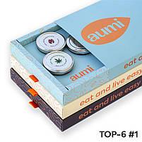 Подарочный набор TOP-6 №1 в коробке, ореховые пасты AUMI миндальная, фундучная, арахисовая, кокосовая, кешью, фото 2