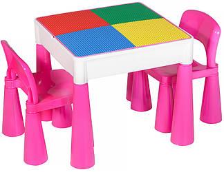 Стол и 2 стульчика Tega Mamut 899P dark pink-white