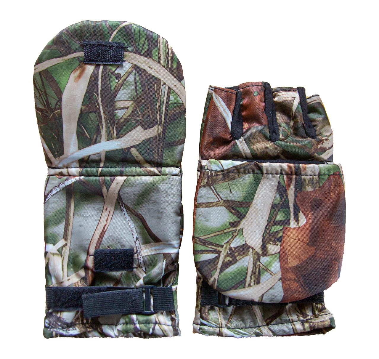 Перчатки-варежки для зимней рыбалки с откидным верхом цвет.клён