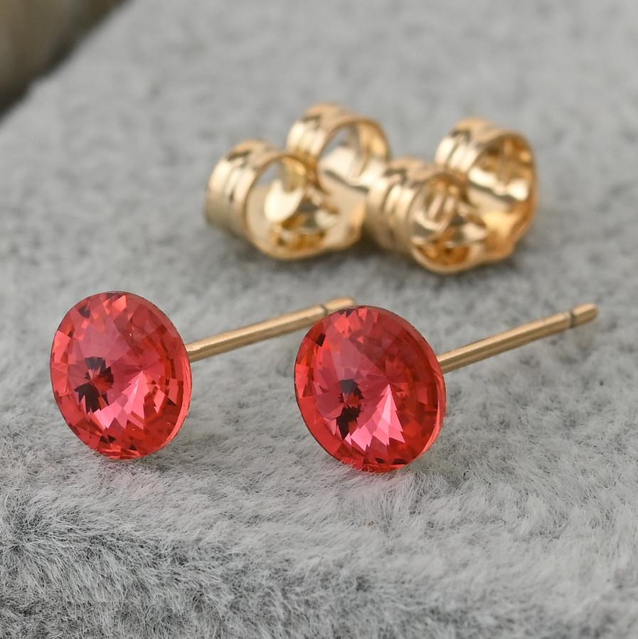 Серьги гвоздики Xuping с кристаллами Swarovski 30596 размер 6х6 мм цвет розовый вес 0.7 г позолота 18К