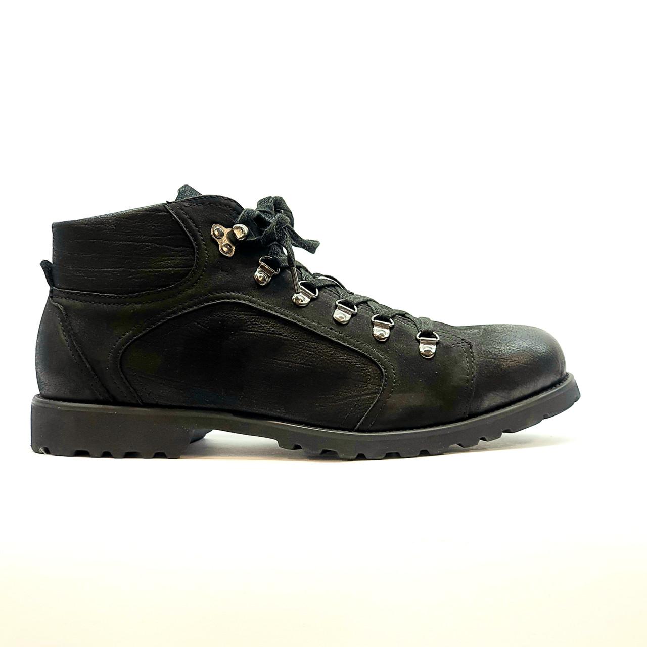 Ботинки зимние мужские повседневные из натурального нубука с натуральным мехом черные
