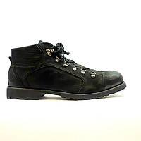 Ботинки зимние мужские повседневные из натурального нубука с натуральным мехом черные, фото 1