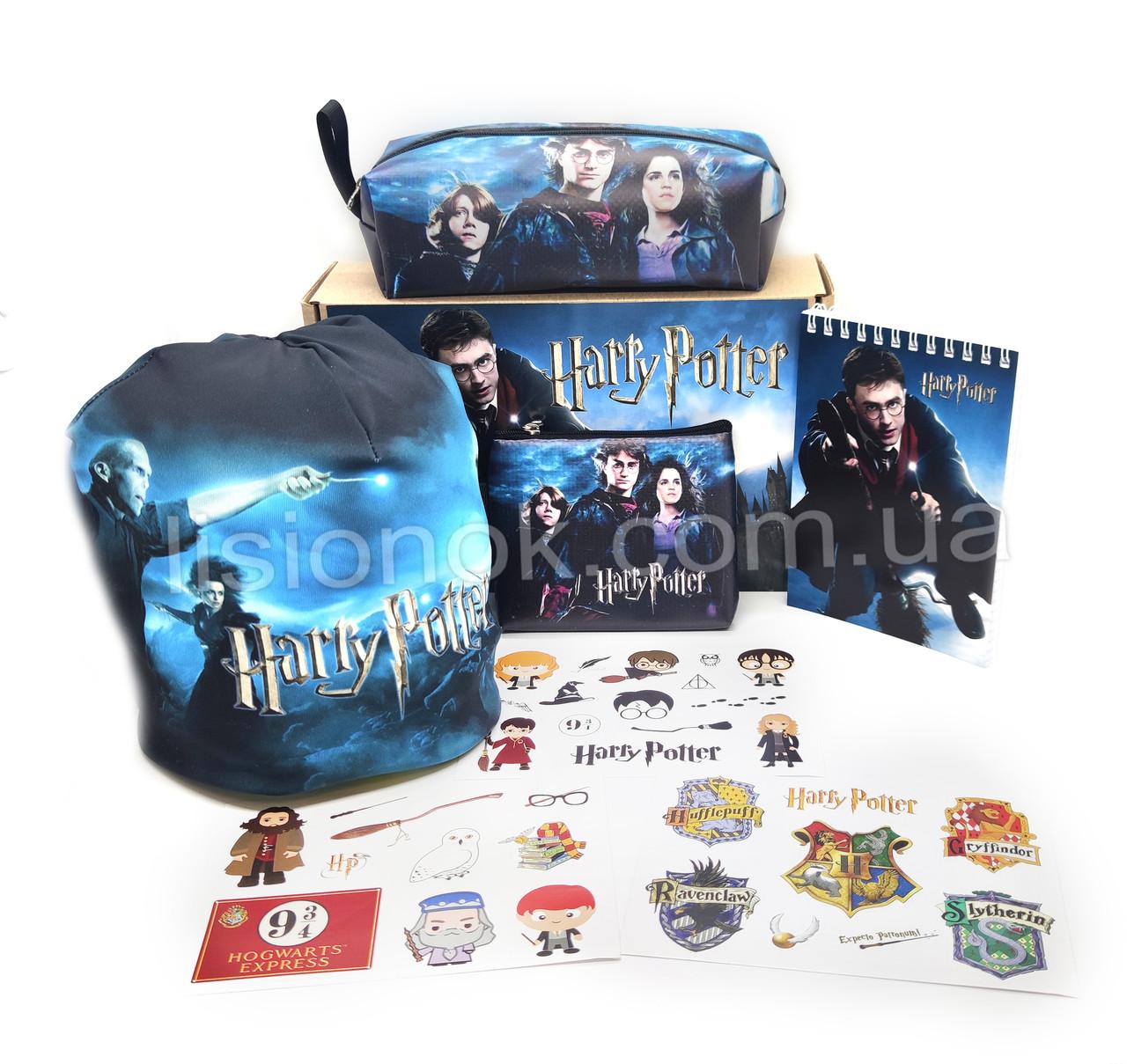 Бокс Гарри Поттер с шапкой (пенал, блокнот, кошелек, наклейки, шапка) – отличный подарок любителям книги Harry