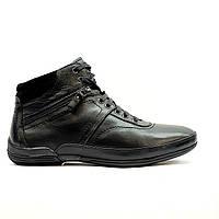 Ботинки зимние мужские повседневные из натуральной кожи с натуральным мехом черные, фото 1
