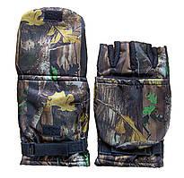 Перчатки-варежки для зимней рыбалки с откидным верхом цвет.Дуб