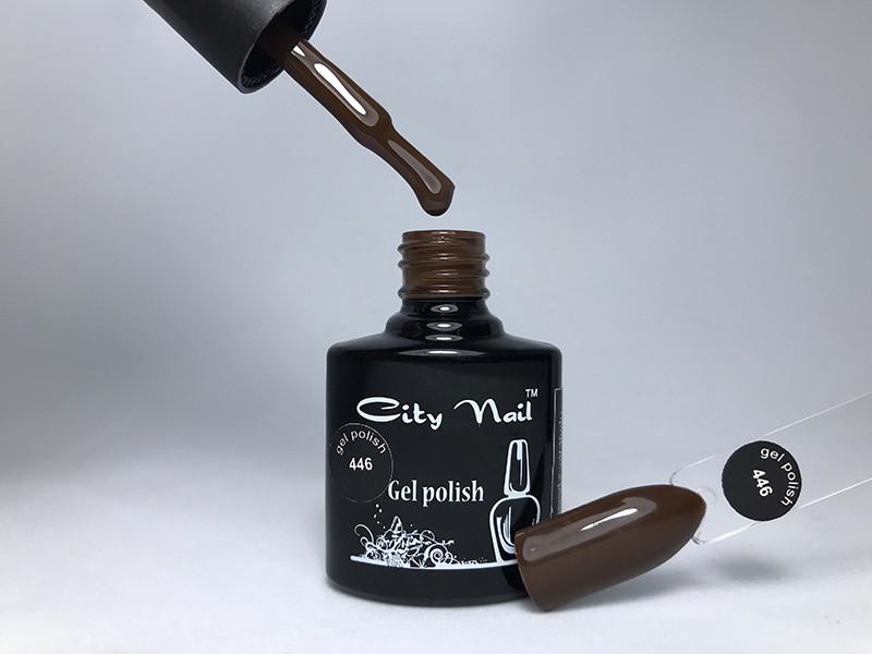 Коричнево-шоколадный гель лак №446 (темно-коньячный) 10мл