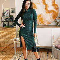 Женское трикотажное платье с разрезом на ножке