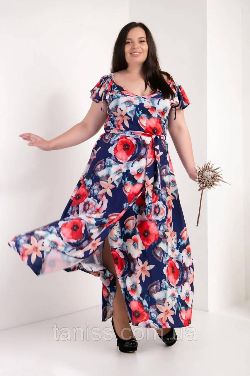 Нарядное летнее платье, сарафан, макси, в пол, большого размера, летняя ткань софт, р-р 50,52 маки