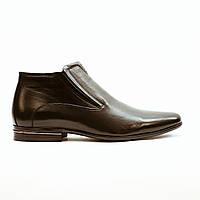Ботинки зимние мужские классические из натуральной кожи с натуральным мехом черные 39
