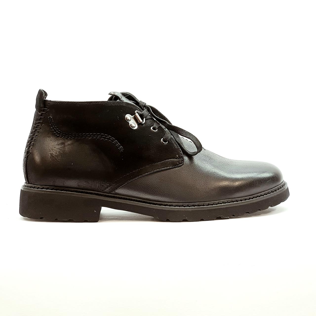 Ботинки зимние мужские классические из натуральной кожи с натуральным мехом черные