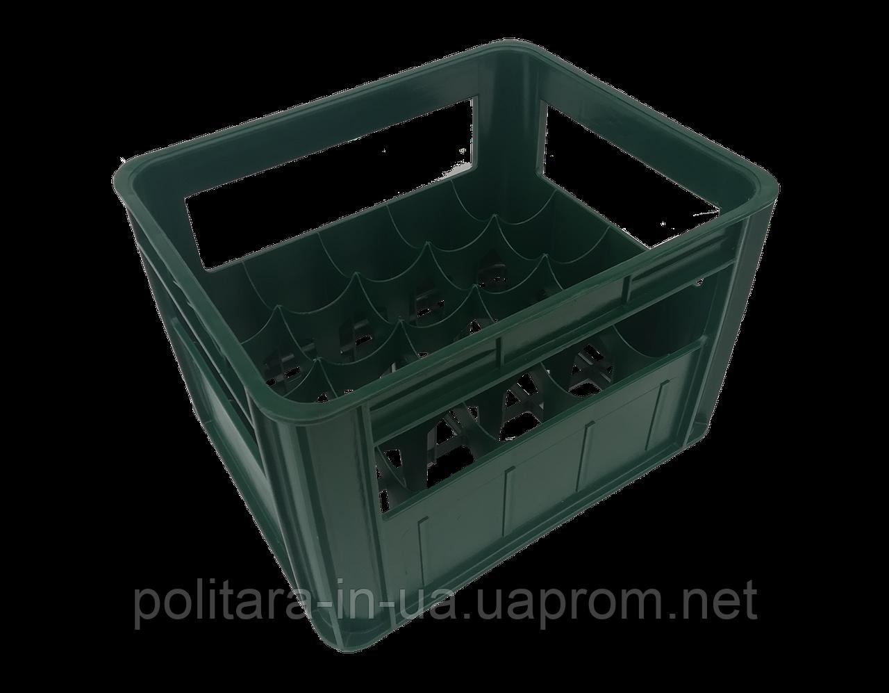 Ящик на 20 ячеек под бутылки с лого упрочненный с повышенной устойчивостью черный вторичный полиэтилен