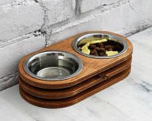 КІТ-ПЕС by smartwood Миски на підставці | Миска-годівниця металева для кішок котів кошенят XS - 2 миски