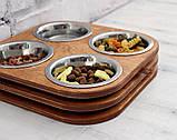 КІТ-ПЕС by smartwood Миски на подставке | Миска-кормушка металлическая для кошек котов котят  XS - 4 миски, фото 6
