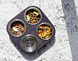 КІТ-ПЕС by smartwood Миски на подставке | Миска-кормушка металлическая для кошек котов котят  XS - 4 миски, фото 8