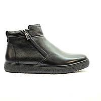 Ботинки зимние мужские повседневные натуральной кожи с натуральным мехом  черные, фото 1