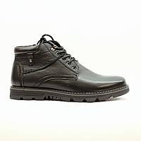 Ботинки зимние мужские повседневные из натуральной кожи с натуральным мехом черные