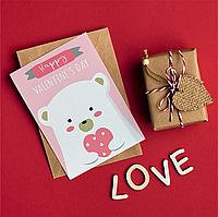 Листівка з днем Св. Валентина 10х15 см з крафт конвертом