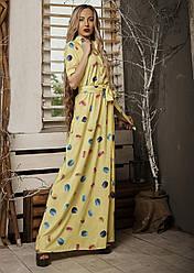 Летнее женское длинное платье, макси, легкая ткань софт, на талии резинка р. 44,46,48 желтое макаруны