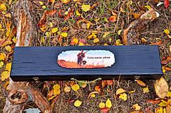 """Ювілейний подарунок для чоловіка з дизайнерськими шампурами """"Мисливський слід"""", у футлярі з дерева, фото 3"""