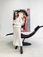 Шикарный вязанный костюм с юбкой плисе, фото 1