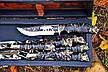 """Ювілейний подарунок для чоловіка з дизайнерськими шампурами """"Мисливський слід"""", у футлярі з дерева, фото 4"""