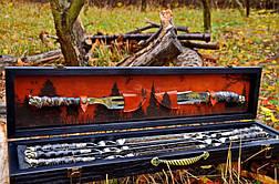 """Ювілейний подарунок для чоловіка з дизайнерськими шампурами """"Мисливський слід"""", у футлярі з дерева, фото 2"""