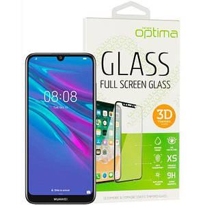 Захисне скло 3Д на Huawei P Smart (2019) з чорним краєм для захисту екрана телефона.