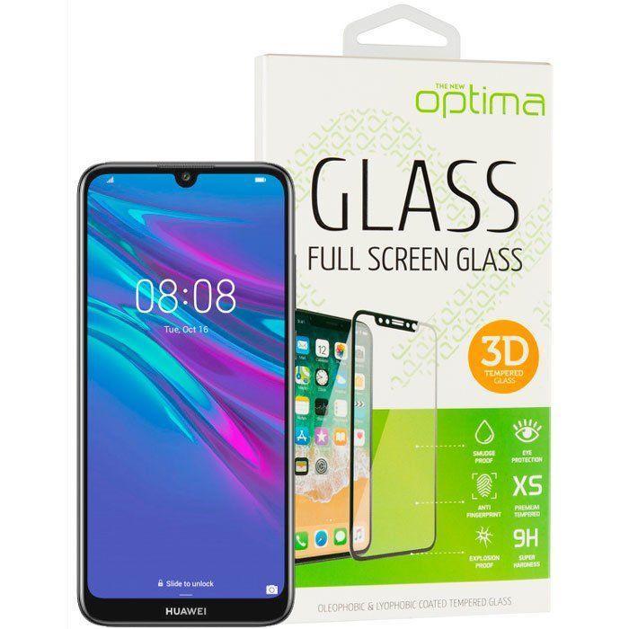 Захисне скло 3Д на Huawei P Smart Z/Y9 Prime (2019) з чорним краєм для захисту екрана телефона.