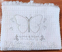 Плед Бабочка Вязка, трикотаж 80х90 см Белый с серебром