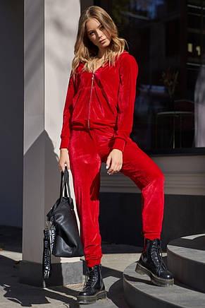 Женский красный велюровый костюм, фото 2
