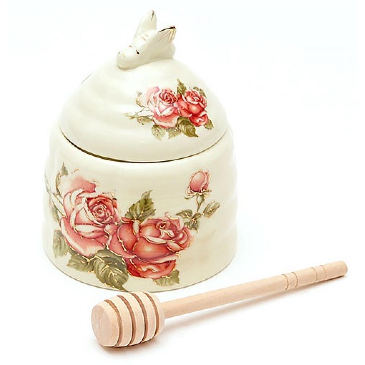 """Ємність для меду фарфор. 12,5см з дерев. палочкою """"Корейська троянда"""" №XX882/Bonadi/"""