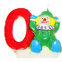 """Свічка в торт цифра """"0"""" Клоуни 12 шт. HS133 (600)"""
