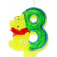"""Свеча в торт цифра """"8"""" с медведем, на планшете (24)"""