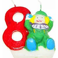 """Свічка в торт цифра """"8"""" Клоуни 12 шт. HS133 (600)"""