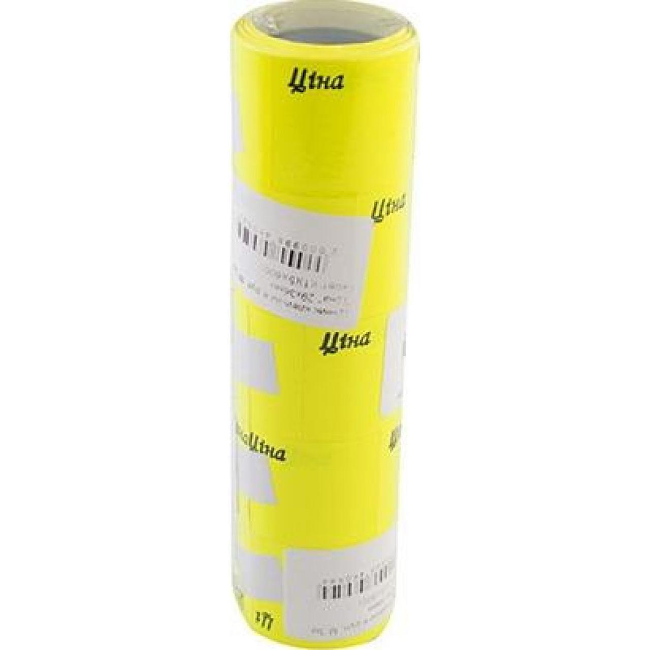 """Ценник клейкий в рулоне M 3м """"Цена"""" 29х36мм желтый (1) (5) (600)"""