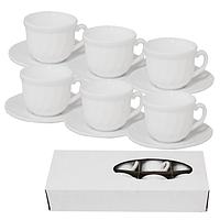 """Набір чайний керам. 12 предметів (6чаш. 190мл+6бл. 14см) """"Білий"""" 7' 30084-00/S&T"""