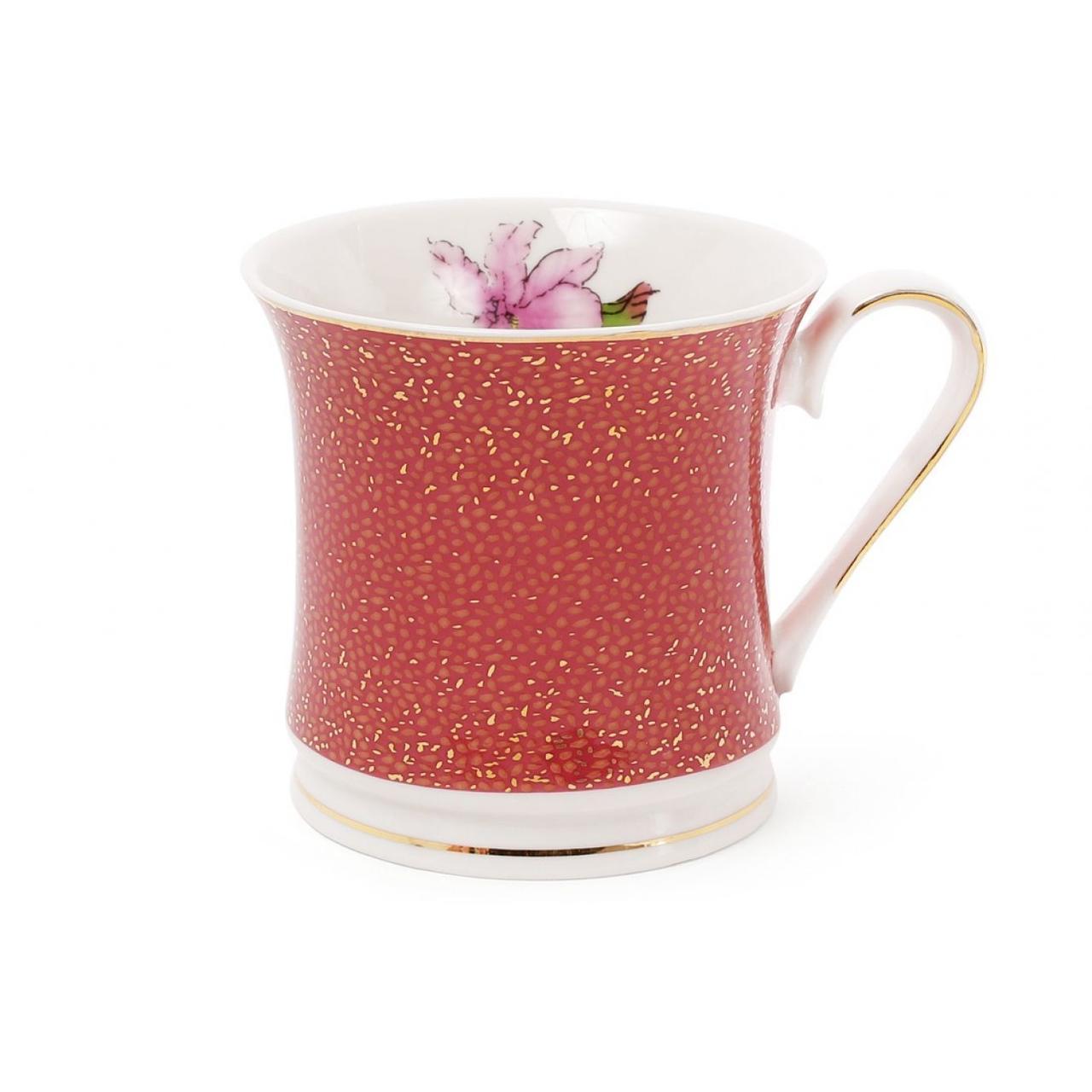 """Чашка керам. 375мл """"Ірис"""" бордо з золотом,в подар. кор-ці №331-721/Bonadi/(1)(48)"""
