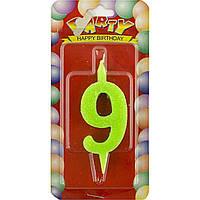 "Свічка в торт цифра ""9"" кольорова (6) (72)"