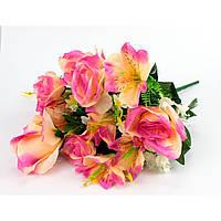 """Букет """"Троянда+лілія бутон"""" 13 квітів 48см непресований"""