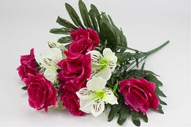 """Букет """"Троянда+лілія"""" 13квітів 60см(10)В"""