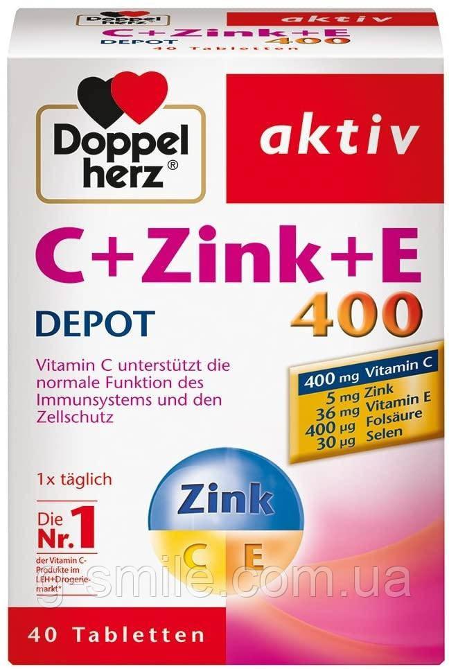 Doppelherz C + Zinc + E 400 DEPOT Tablets - диетическая добавка с витамином С