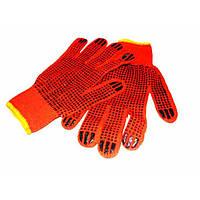 Перчатки трикотажные оранжевые с черными точками