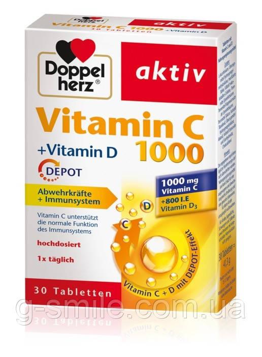 DOPPELHERZ aktiv Vitamin C 1000 + Vitamin D для поддержания иммунной системы и защиты клеток, 30 St