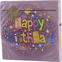 """Серветки столові ТМ """"Luxy"""" 3-х шарові (20 шт) Щасливий день бордо (15)"""