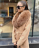 Зимнее пальто халат миди с меховым воротом, фото 3