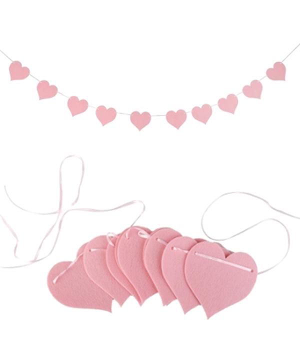 """Гирлянда из фетра на День Святого Валентина """"Pink Hearts"""" (10 шт.)"""