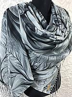 Женский черно-серый палантин с красивым рисунком и бахромой, фото 1