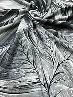 Женский черно-серый палантин с красивым рисунком и бахромой - купить на Kosinka.net