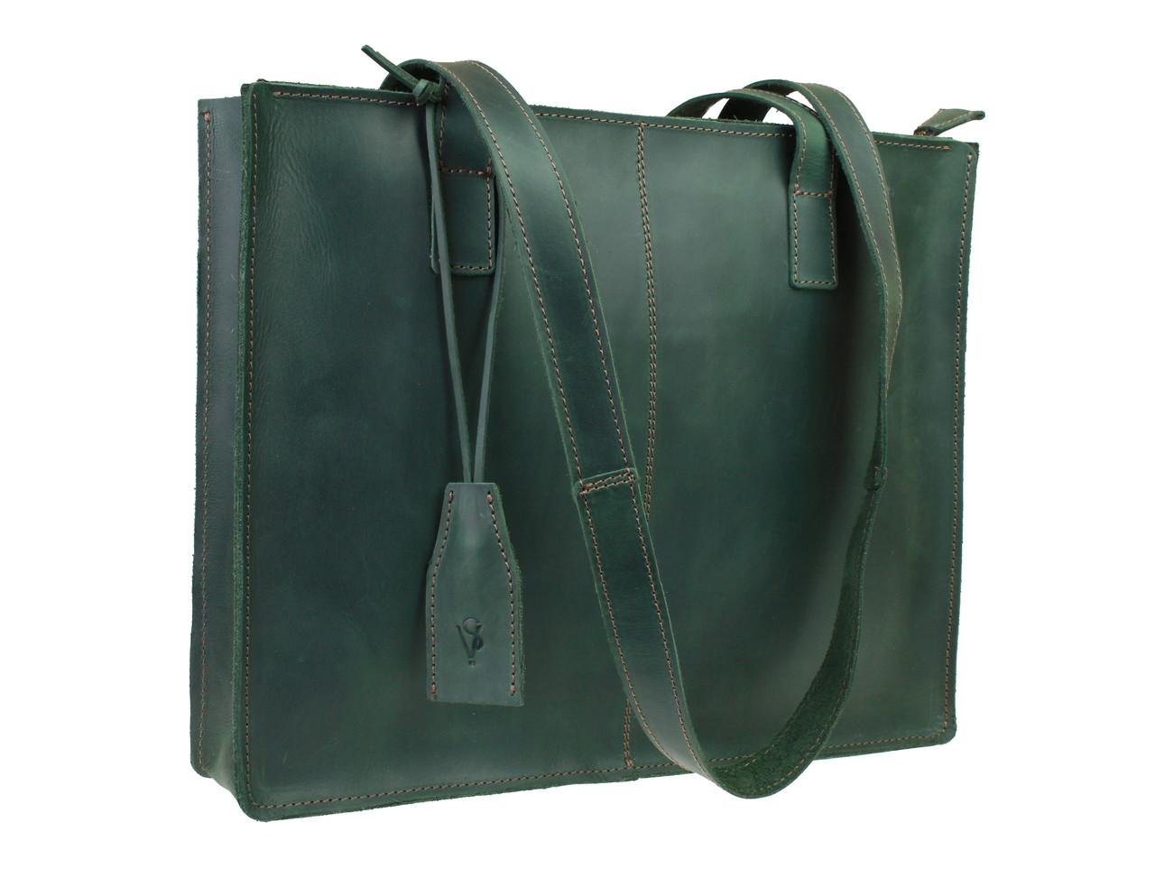 Сумка женская кожаная  большая шопер SULLIVAN sg51(40) зеленая